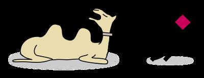 cartoon depiction of a stick figure dragging a camel